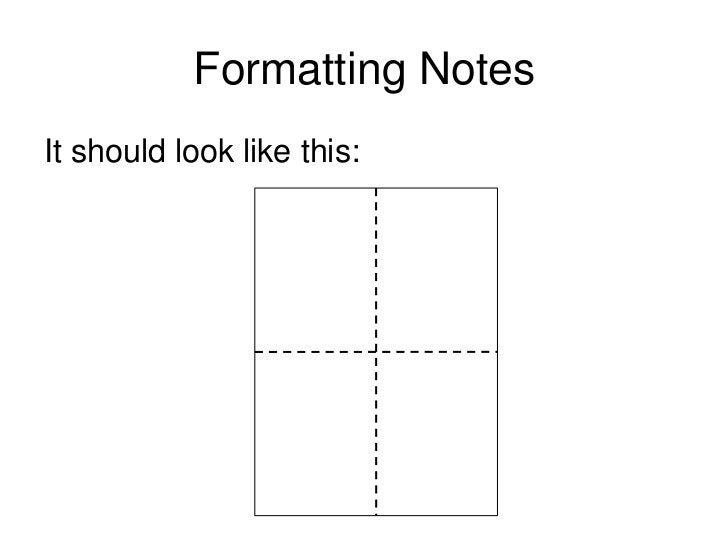 Formatting Notes<br />We will us a folded sheet of paper to<br />record our notes when we do research in<br />the library....