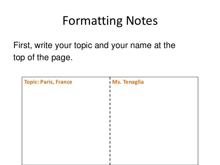 Formatting Notes<br />It should look like this:<br />