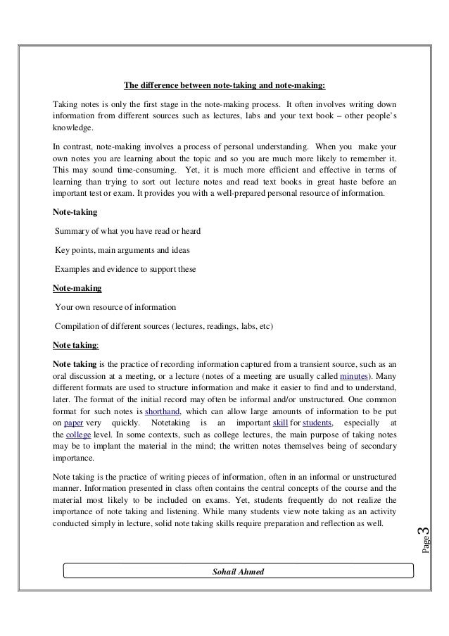 Note taking and note making by Sohail Ahmed Solangi Slide 3
