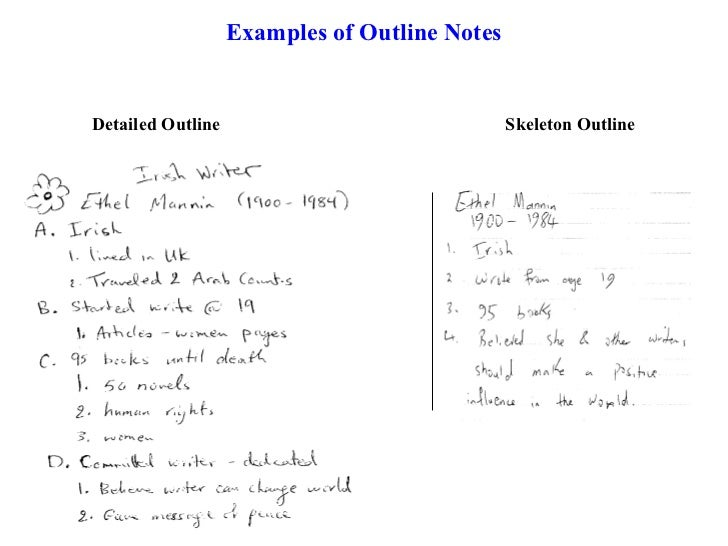 how to write outline notes