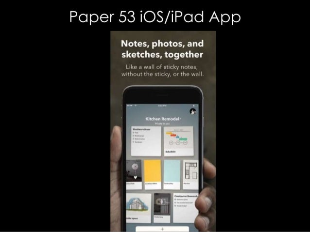 Paper 53 iOS/ iPcJd App  Notes,  photos,  and sketches,  together  Like a wall of sticky notes,  without the sticky,  or t...