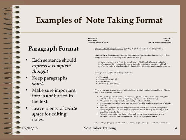 principles of note making