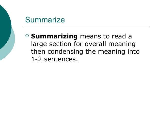 Summarising and paraphrasing use direct quotations