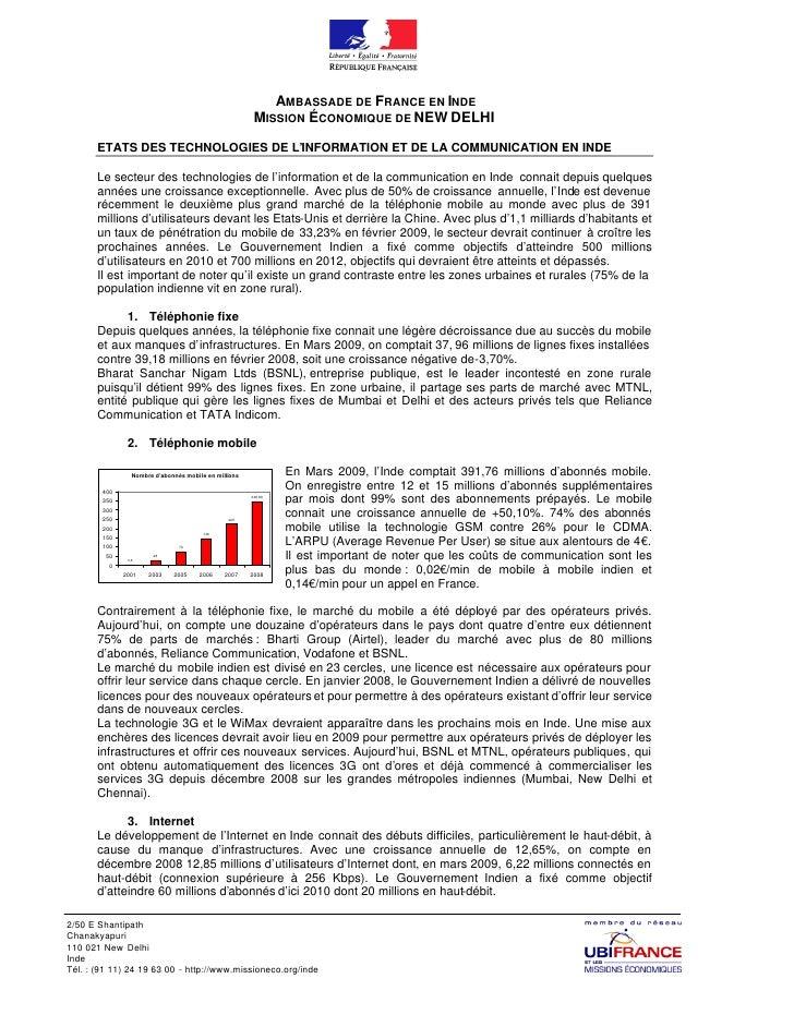 AMBASSADE DE FRANCE EN INDE                                                         MISSION ÉCONOMIQUE DE NEW DELHI       ...