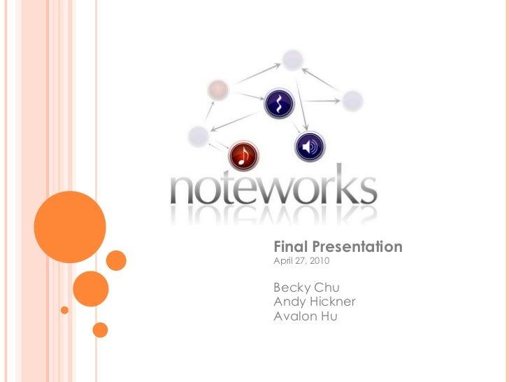 Final Presentation  April 27, 2010 Becky Chu Andy Hickner Avalon Hu
