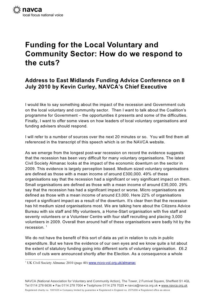 Funding for the Local Voluntary and Community Sector: How do we respond to the cuts?  Address to East Midlands Funding Adv...