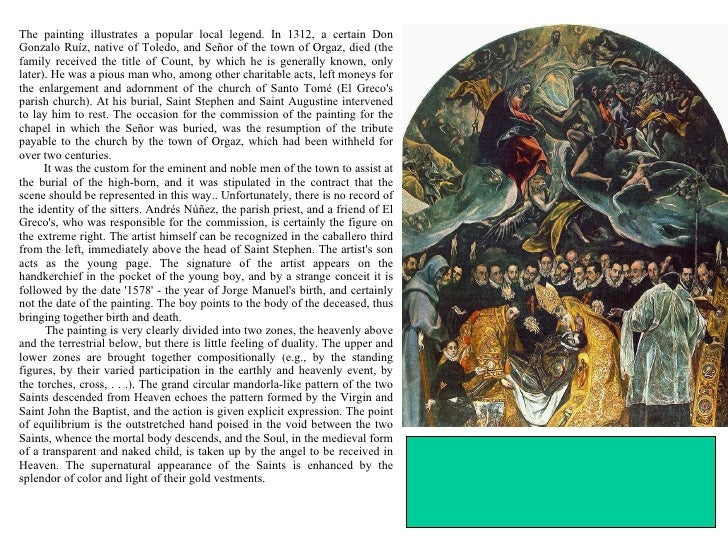 an analysis of the painting the burial of count orgaz by domenikos theotocopoulos Guide to pictures of works by el greco in art museum sites and image domenicos theotocopoulos luc tuymans on the burial of the count of orgaz by el greco.