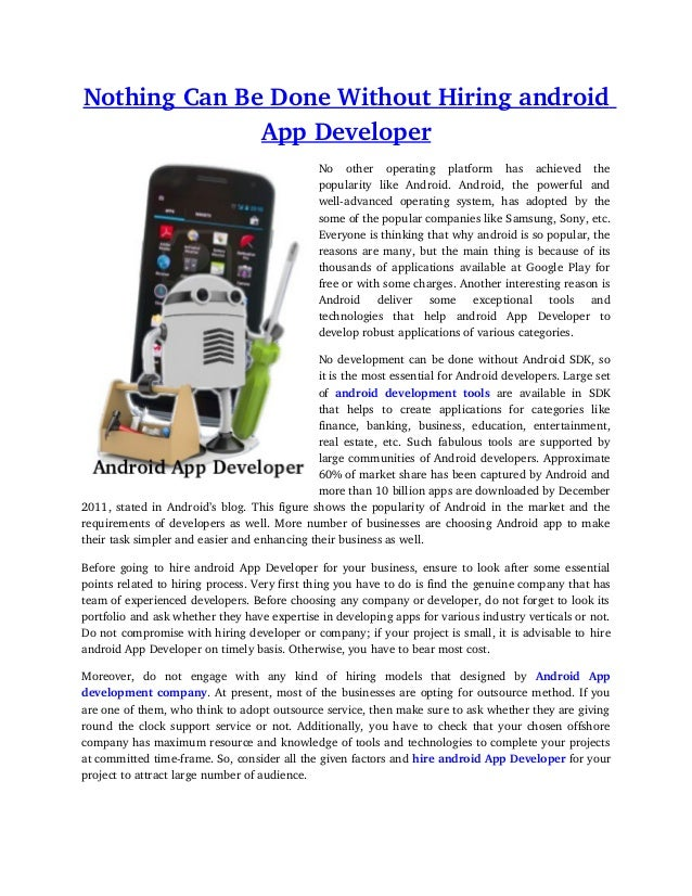Nothing Can Be Done Without Hiring android               App Developer                                                  No...