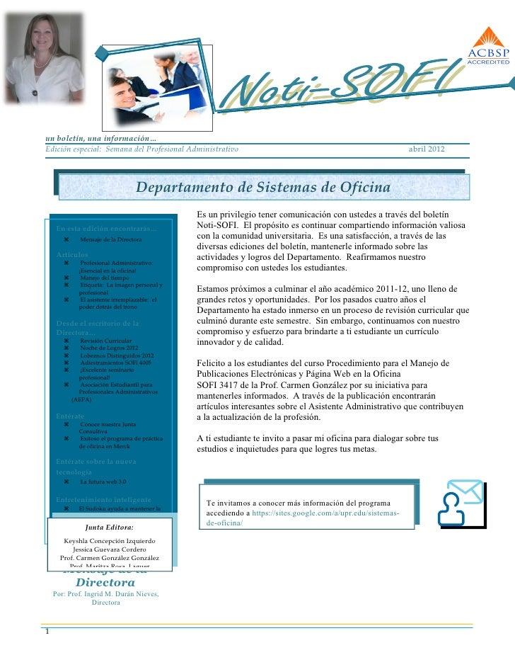 un boletín, una información…Edición especial: Semana del Profesional Administrativo                                       ...