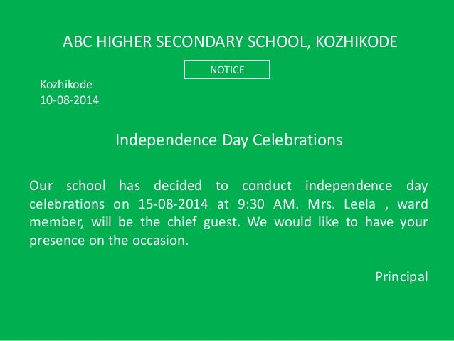 draft speech by chief guests on the independence day celebration School speech by chief guest draft speech of mrs d purandeswari, mos-hrd (he) as chief guest on the occasion of the annual day of the rainbow concept school, mahaboobnagar, ap on 9th february, 2007 at 530 pm.