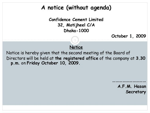 Meeting Notice Samples