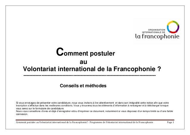 Comment postuler au Volontariat international de la Francophonie? - Programme de Volontariat international de la Francopho...