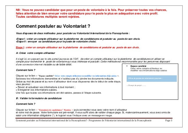 comment postuler au volontariat international de la
