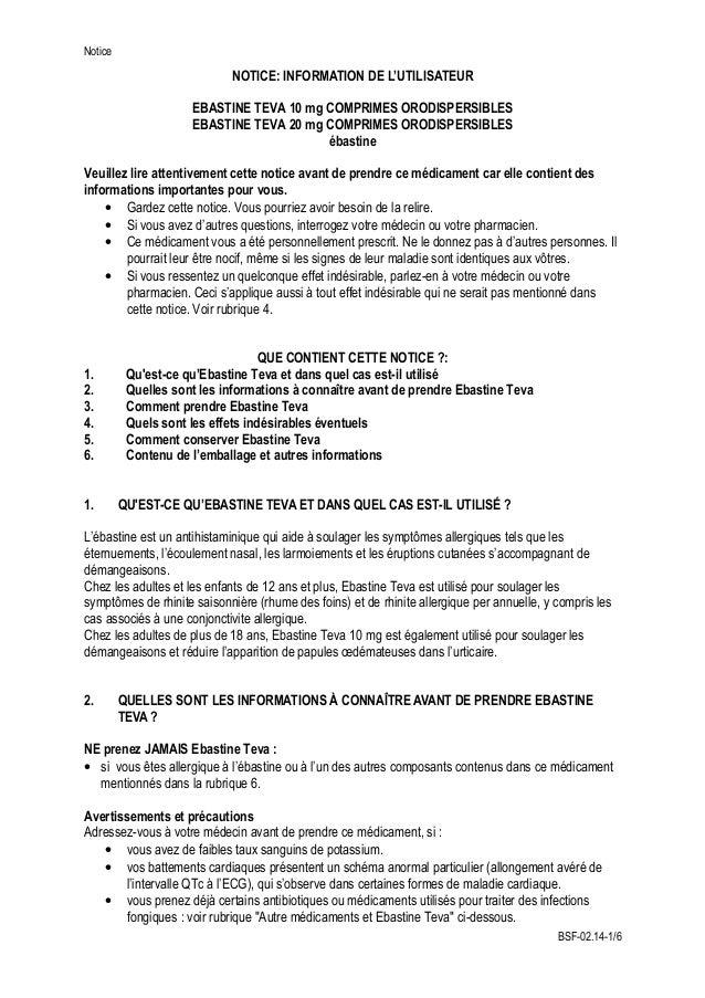 Notice NOTICE: INFORMATION DE L'UTILISATEUR EBASTINE TEVA 10 mg COMPRIMES ORODISPERSIBLES EBASTINE TEVA 20 mg COMPRIMES OR...