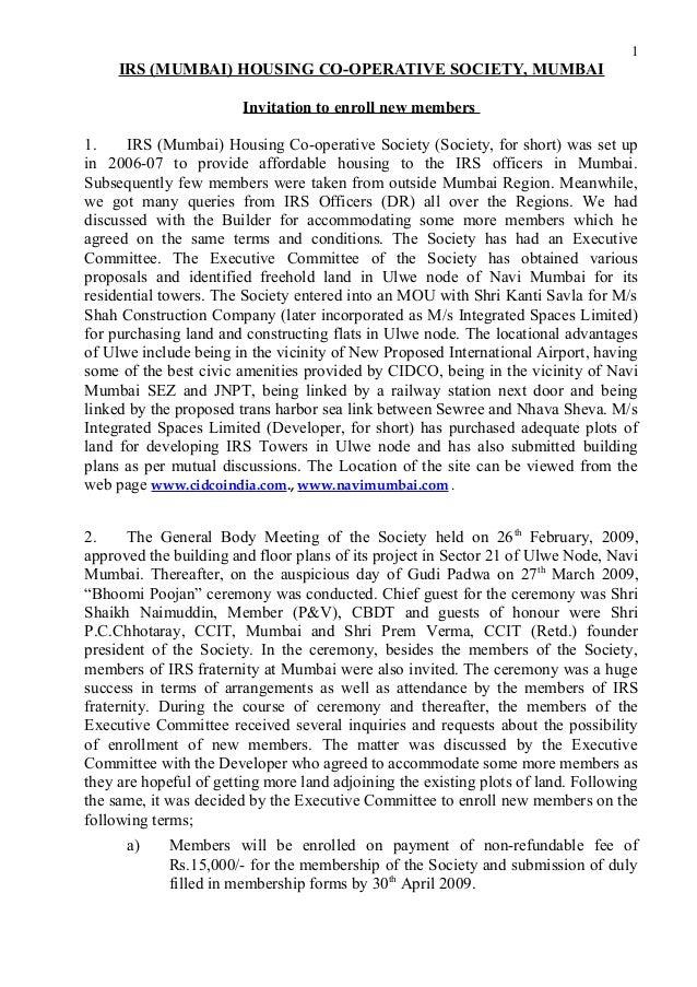 IRS (MUMBAI) HOUSING CO-OPERATIVE SOCIETY, MUMBAI Invitation to enroll new members 1. IRS (Mumbai) Housing Co-operative So...