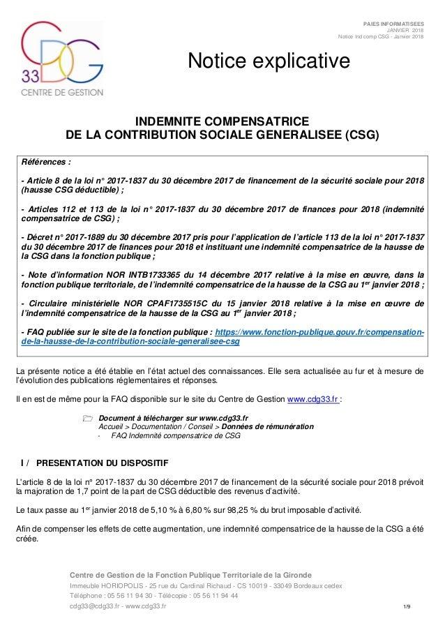 Notice Indemnite Compensatrice Csg Cdg 33
