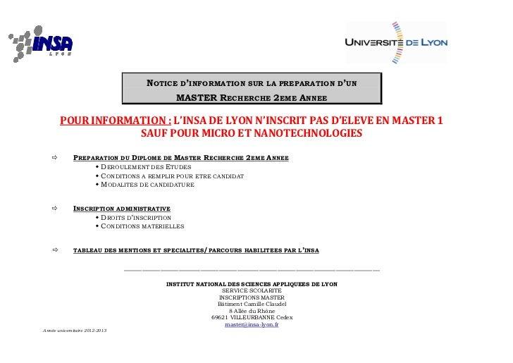 NOTICE D'INFORMATION SUR LA PREPARATION D'UN                                              MASTER RECHERCHE 2EME ANNEE     ...