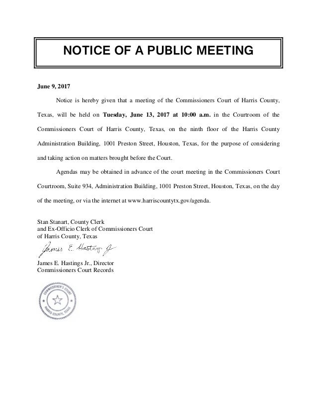 notice of a public meeting agenda - harris county