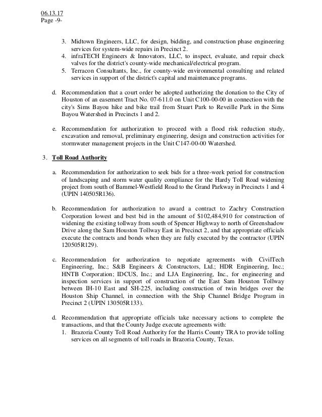 Notice Of A Public Meeting Agenda Harris County