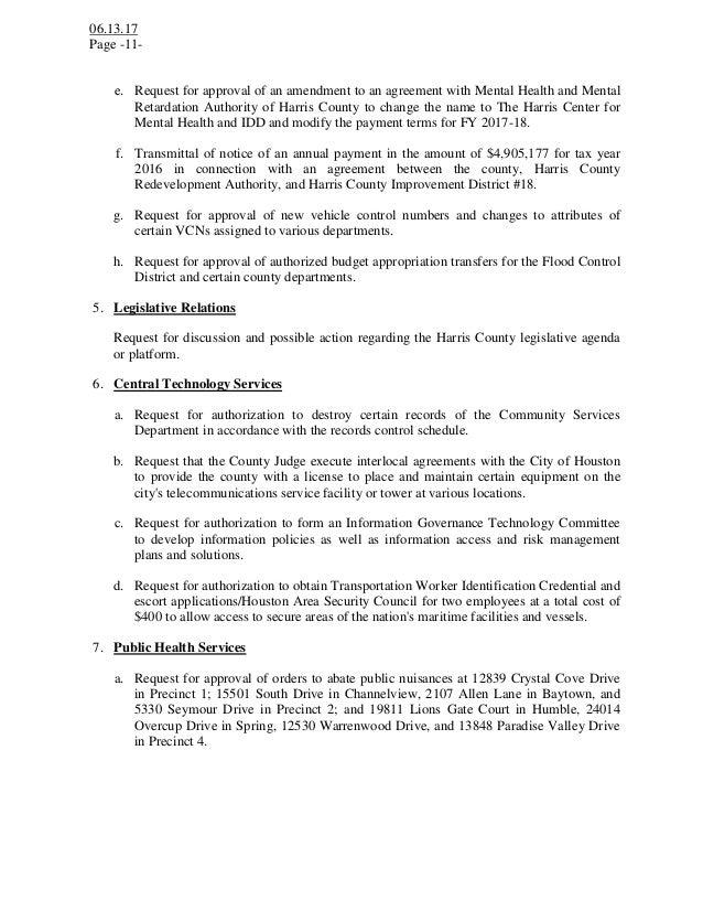 Notice of a Public Meeting Agenda - Harris County