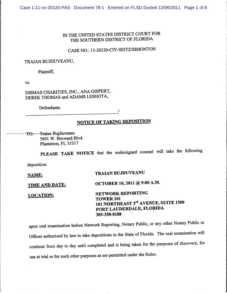 Notice Of Taking Deposition