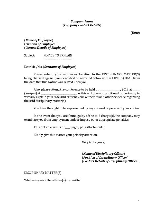 Sample Letter Notice Of Nonpayment