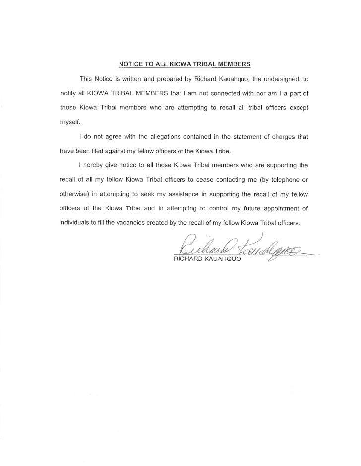Notice To Kiowa Tribal Members   Richard Kauahquo 2 26 10