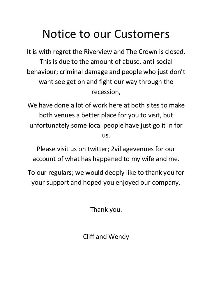 Notice To Our Customers At The Riverview Inn And The Crown