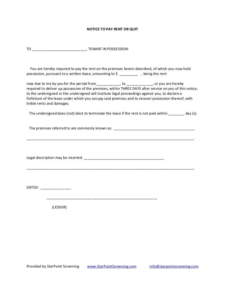 Notice to pay rent or quit for Notice to pay rent or quit template