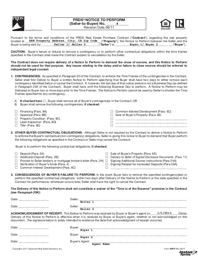 PRDS® NOTICE TO PERFORM                                                        (Seller-to-Buyer) No. ____________         ...