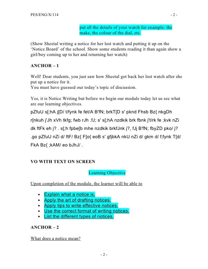 Format Of Notice Writing For Class 11 Image Gallery - Hcpr