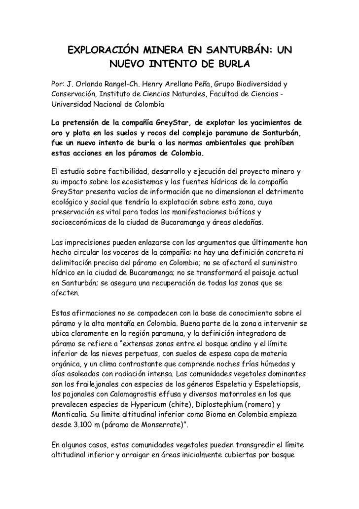 EXPLORACIÓN MINERA EN SANTURBÁN: UN           NUEVO INTENTO DE BURLAPor: J. Orlando Rangel-Ch. Henry Arellano Peña, Grupo ...