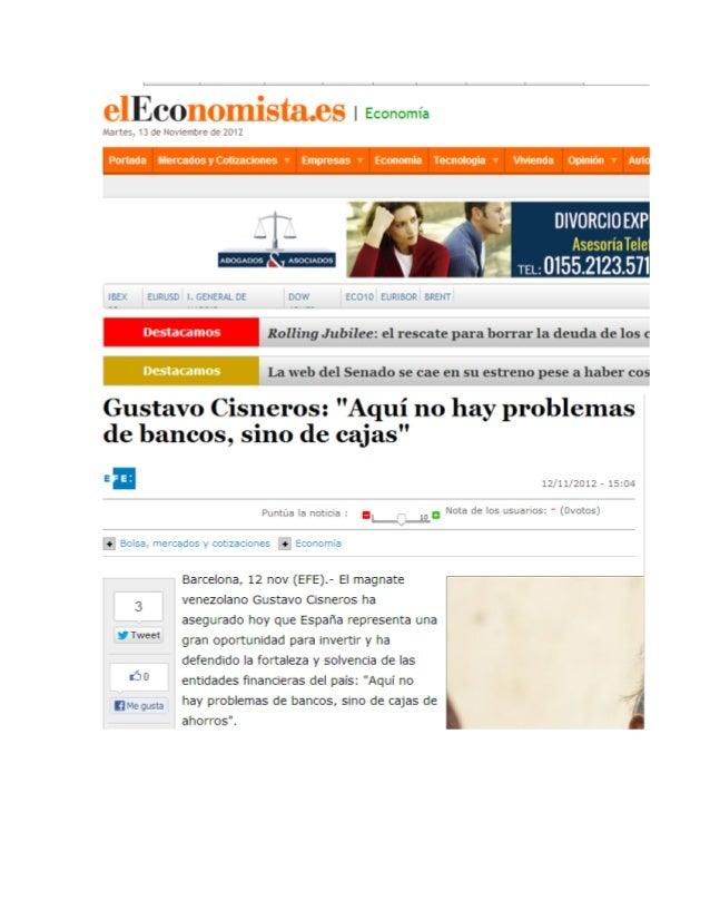 """""""Aquí no hay problemas de bancos, sino de cajas"""" (El Economista)"""