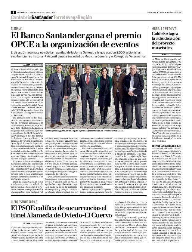 Banco Santander gana el premio OPCE a la organización de eventos