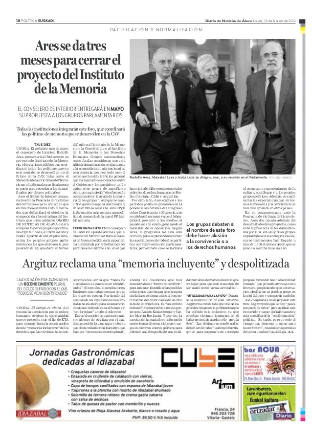 18 POLÍTICA EUSKADI Diario de Noticias de Álava Jueves, 16 de febrero de 2012 ELCONSEJERODEINTERIORENTREGARÁENMAYO SUPROPU...
