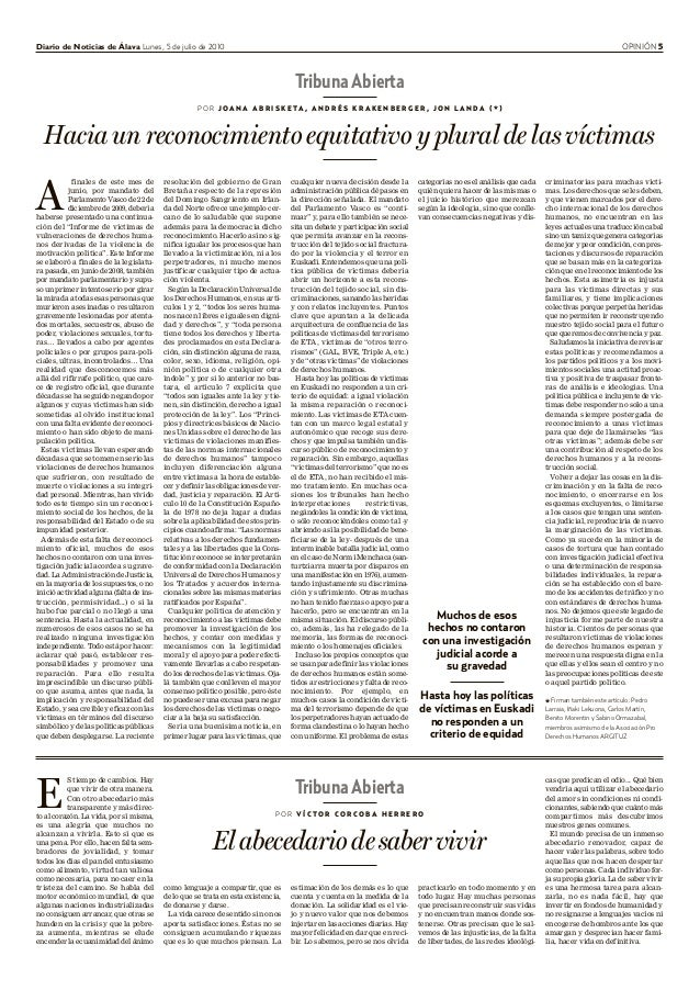 Diario de Noticias de Álava Lunes, 5 de julio de 2010 OPINIÓN 5 Tribuna Abierta P O R V Í C T O R C O R C O B A H E R R E ...