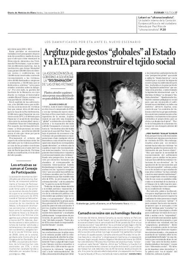 Diario de Noticias de Álava Martes, 1 de noviembre de 2011 EUSKADI POLÍTICA 17 LO S D A M N I F I C A D O S P O R E TA A N...