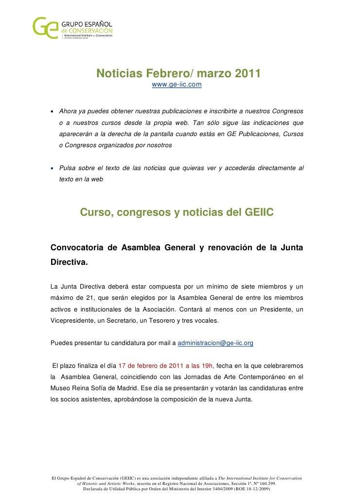 Noticias Febrero/ marzo 2011                                                   www.ge-iic.com• Ahora ya puedes obtener nue...