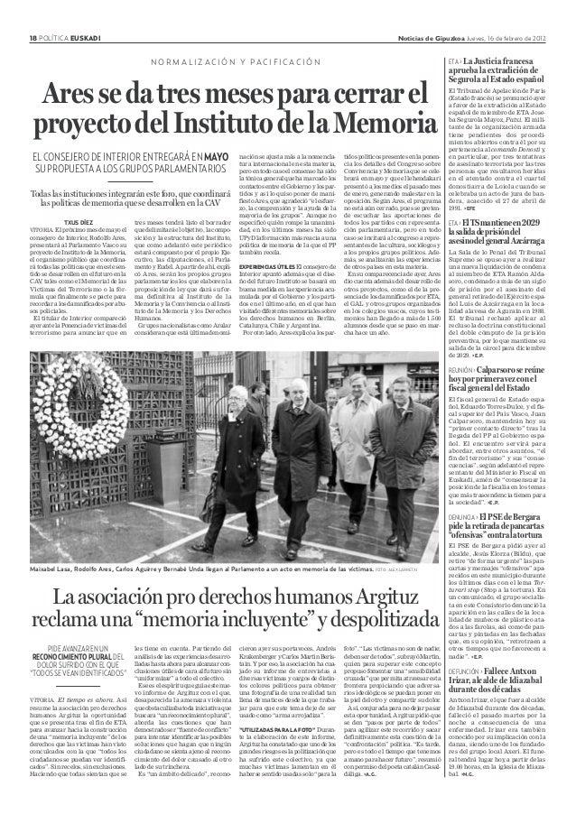 18 POLÍTICA EUSKADI Noticias de Gipuzkoa Jueves, 16 de febrero de 2012 ELCONSEJERODEINTERIORENTREGARÁENMAYO SUPROPUESTAALO...
