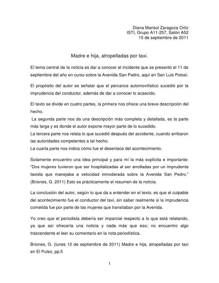 Diana Marisol Zaragoza Ortiz<br />ISTI, Grupo A11-257, Salón A52<br />15 de septiembre de 2011 <br />Madre e hija, atropel...