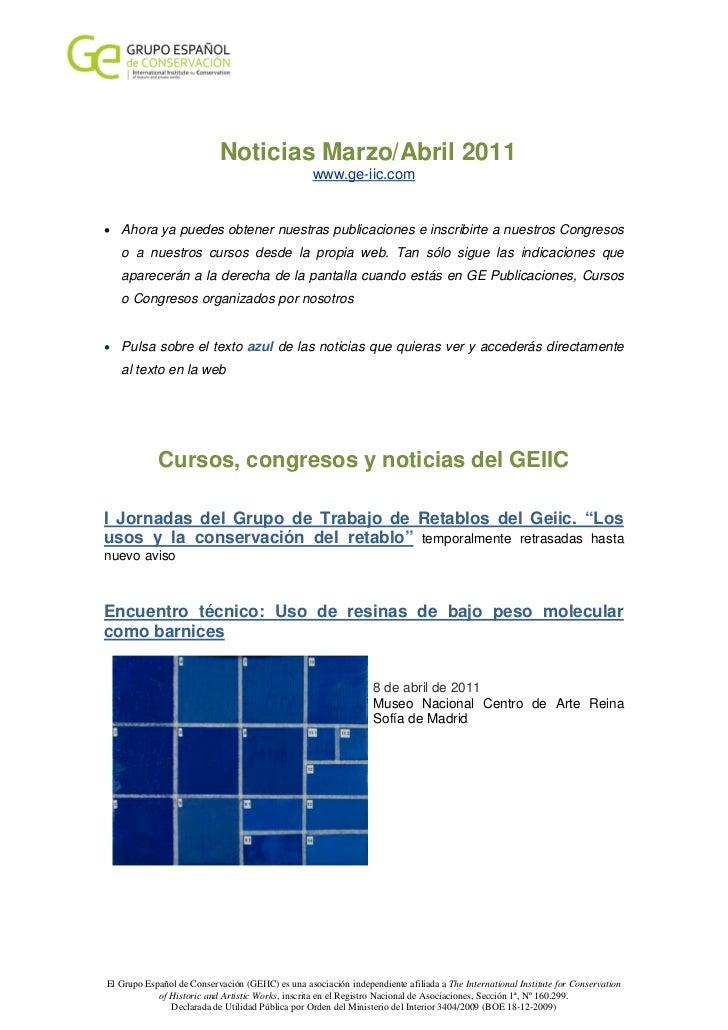 Noticias Marzo/Abril 2011                                                   www.ge-iic.com• Ahora ya puedes obtener nuestr...
