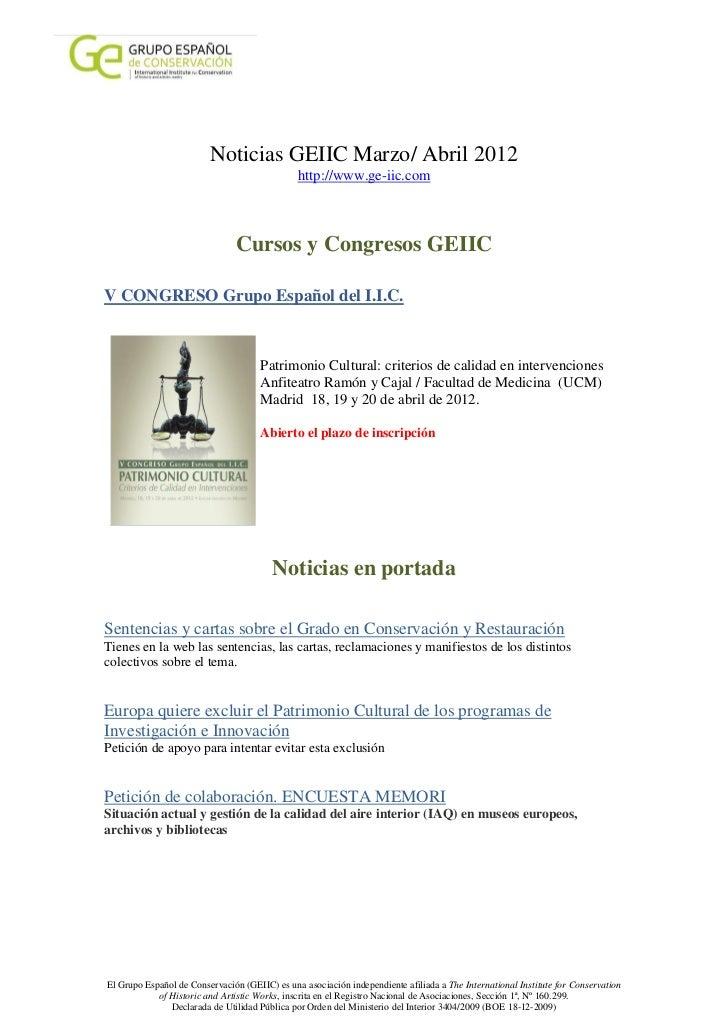 Noticias GEIIC Marzo/ Abril 2012                                               http://www.ge-iic.com                      ...