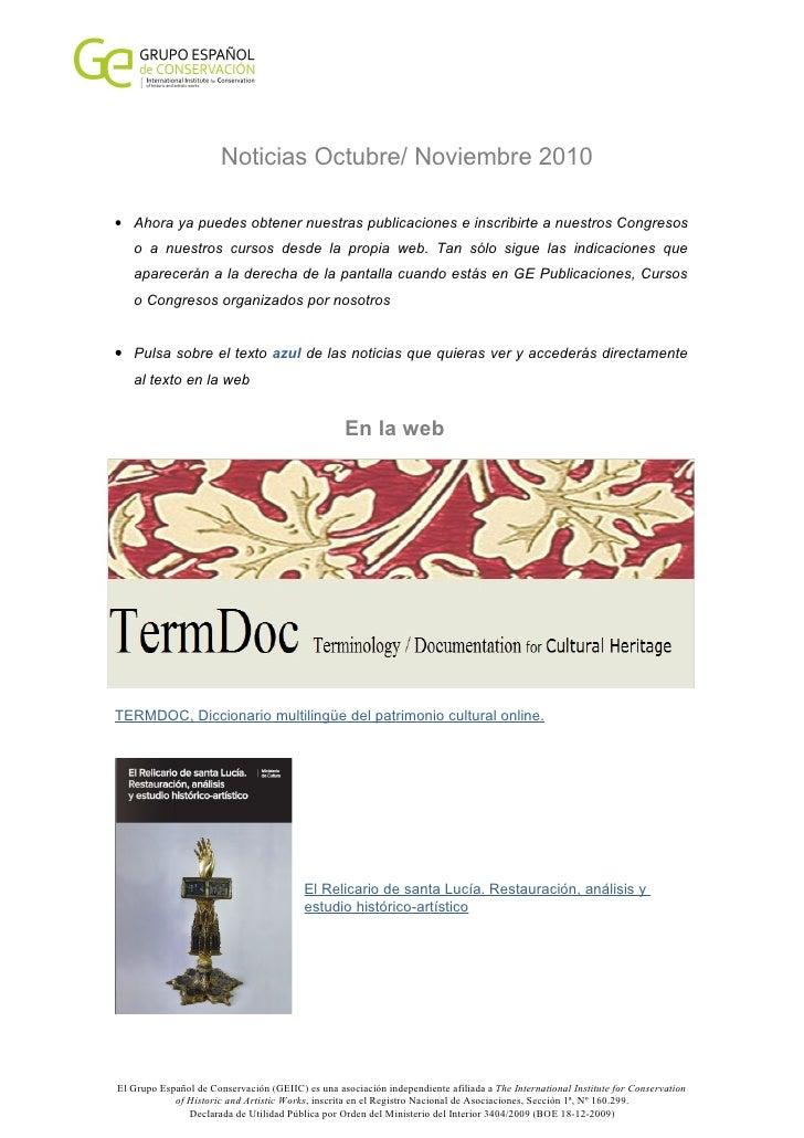 Noticias Octubre/ Noviembre 2010  • Ahora ya puedes obtener nuestras publicaciones e inscribirte a nuestros Congresos    o...