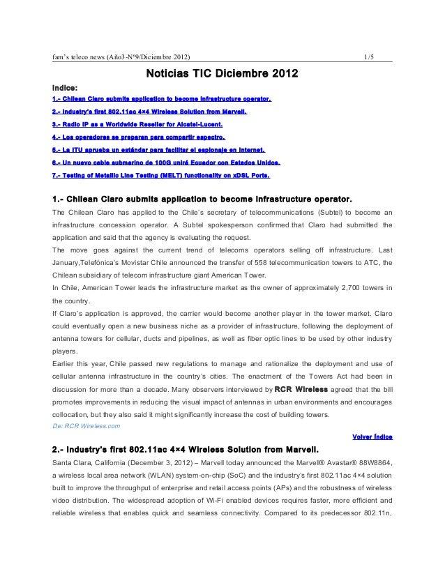 fam's teleco news (Año3-Nº9/Diciembre 2012)                                                       1/5                     ...