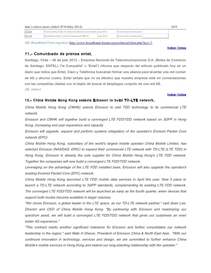 fam's teleco news (Año3-Nº4/Julio 2012)                                                                    10/9TR-254     ...