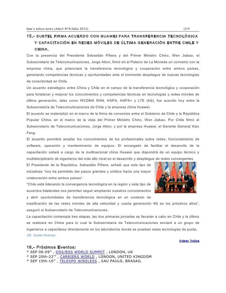 fam's teleco news (Año3-Nº4/Julio 2012)                                                          12/915.- SUBTEL FIRMA ACU...
