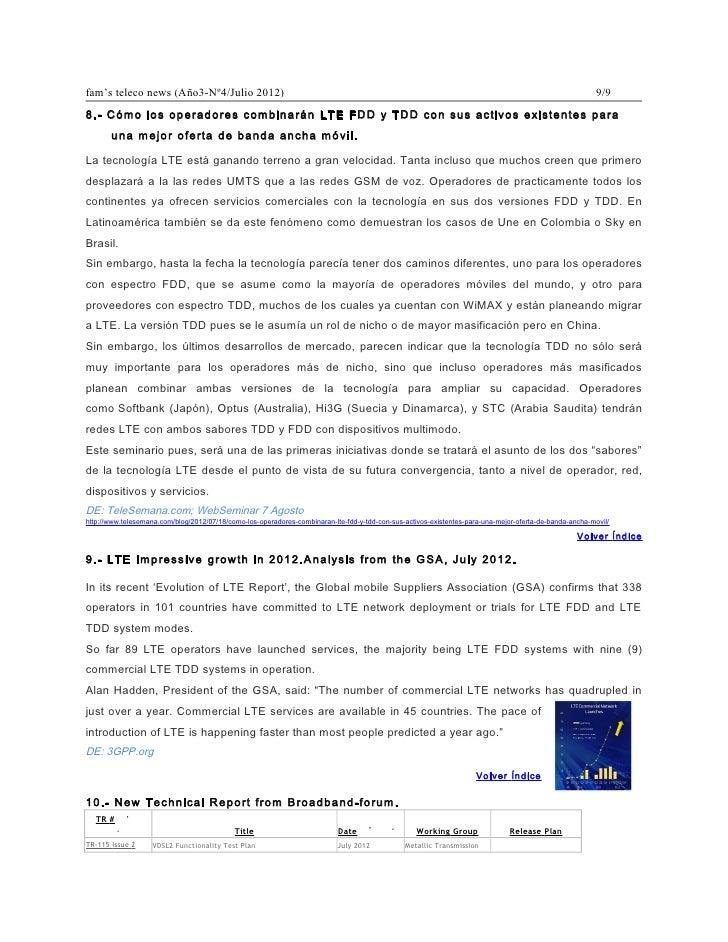 fam's teleco news (Año3-Nº4/Julio 2012)                                                                                   ...