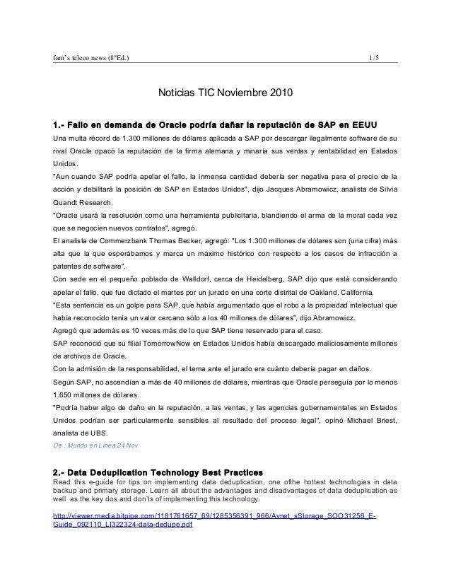 fam's teleco news (8ªEd.) 1/5 Noticias TIC Noviembre 2010 1.- Fallo en demanda de Oracle podría dañar la reputación de SAP...