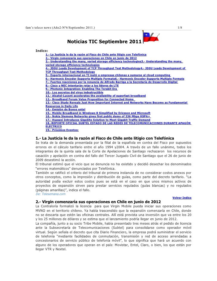 fam's teleco news (Año2-Nº6/Septiembre 2011.)                                                      1/8                    ...