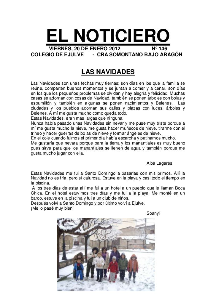 EL NOTICIERO     VIERNES, 20 DE ENERO 2012         Nº 146COLEGIO DE EJULVE    - CRA SOMONTANO BAJO ARAGÓN                 ...